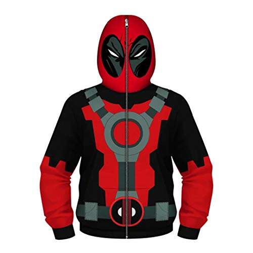 Hoodies Zip Over Face - Tsyllyp Boys Youth Teen Deadpool Hoodies Costume Cosplay 3D Jackets Pullover