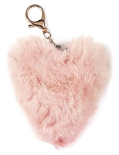 (iscream Heart Shaped Furry Pom-Pom Decorative Purse and Backpack Clip Keychain Charm, Petal Pink)