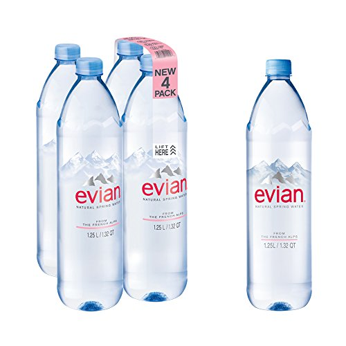 evian Natural Spring Water 1.25 Liter, 42.27 Fl Oz 4 Count, Naturally Filtered Spring Water in Bulk-Size Water (Evian Natural Mineral Water)