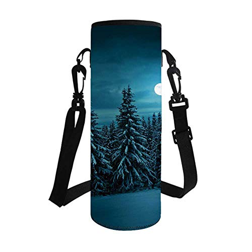 TecBillion Night Stylish Bottle Sleeve,Tranquil Blue Night with Moon in Woods Covered with Snow Serene Winter View for Bottle & Vacuum Cup,3.7''L x 3.7''W x 10.2''H