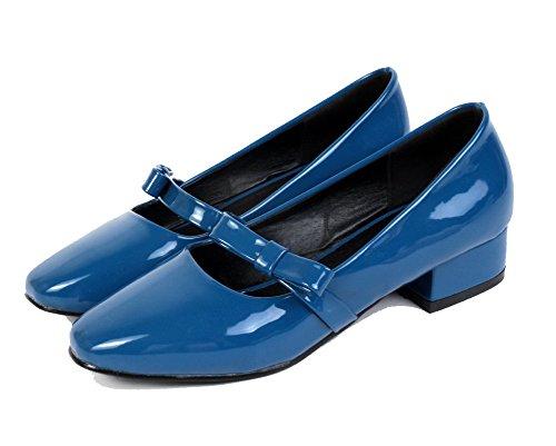 AllhqFashion Femme Nœuds à Deux Boucles Tire Matière Souple Chaussures Légeres Bleu lNzdINIZf2