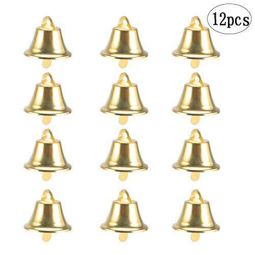 BinaryABC Golden Bell Jingle Bells Christmas Tree Ornaments Decoration,Christmas Tree Pendants,12Pcs(Golden) (Ornaments Christmas Golden)