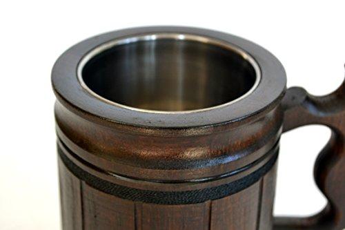 Handmade Beer Mug Oak Wood Stainless Steel Cup Gift Natural Eco-Friendly 0.3L 10oz Classic Brown