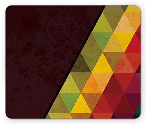 Abstract Mouse Pad, Geometrical Triangular Polygons with Aged Grungy Look Stained Glass Style Mosaic, Standard Size Rectangle Non-Slip Rubber Mousepad, ()
