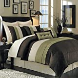 12 PIECES BEDDING SET LUXURY HUDSON COMFORTER SET CALIFORNIA KING SIZE SAGE GREEN IVORY AND CHOCOLATE. INCLUDES: 1- COMFORTER, 1- BED SKIRT WITH 15'' DROP 2- STANDARD PILLOW SHAMS 2- EURO PILLOW SHAMS. 1- DECORATIVE PILLOW 12'' x 18'' 1- DECORATIVE PILLOW 18