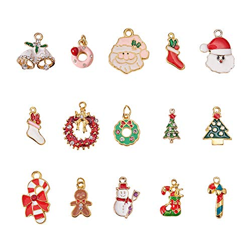 PH PandaHall 30pcs 15 Styles Gold Alloy Enamel Christmas Theme Pendants Charms Finding Beads Charms for Jewelry Making Craft (Donut, Wreath, Gingerbread Man, Crutch, Santa Claus, Snowman, Bell)
