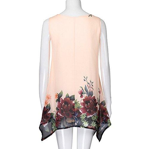 Jaune Mini de Vintage Plage V Bas Mousseline Coupe Femmes de Soie Lonshell Plus Boho Robe de Robe Shirt lgant Robe Manches Fille Robe Taille Soleil Col imprim T sans t Floral w7A7qYHx