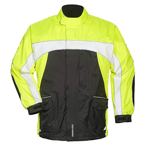 Tourmaster Elite 3 Rain Jacket (LARGE) (BLACK/HI-VIZ/WHITE) by Tourmaster