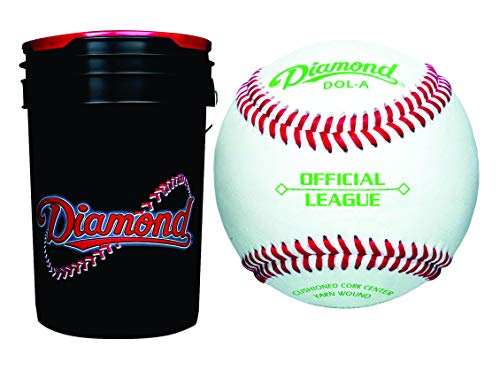 (Diamond Dol-A Official League Leather Baseballs & Bucket 30 Ball Pack W/Bucket)