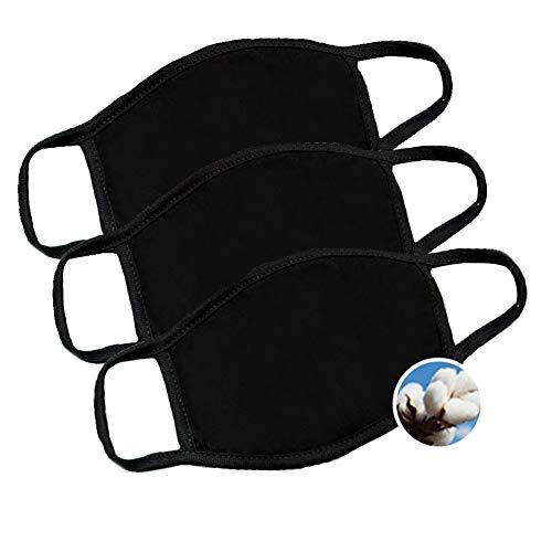 k-pop fashion cotton mouth face mask black (3pack)
