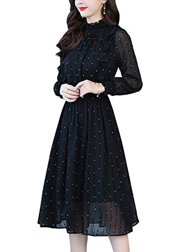 (D.B.M Ladies Elegant Stand Collar Vertical Stripe Elastic Chiffon Dress (Small,)