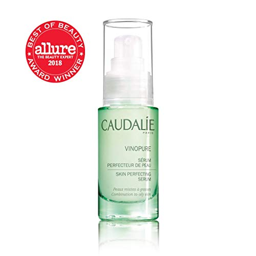 Caudalie Vinopure Skin Perfecting Serum. Natural Salicylic Acid Pore Minimizing Serum with Rosewater and Polyphenols. Reduces Blackheads, For Oily Skin (1.01 Ounce / 30 Milliliters)