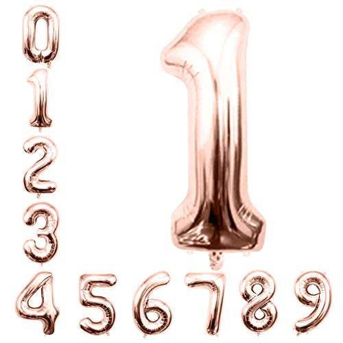 Rose Gold Number Balloons 32inch Helium Birthday Balloons Foil Mylar Digital Balloons for Birthday Engagement Wedding Bridal Shower Anniversary Graduation Celebration Party of 2019 BALLOON (1)