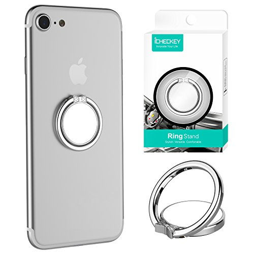 ICHECKEY Mirror Series Multifunctional Cell Phone Ring Stand Holder 360° Rotation Finger Grip Ring Universal Stand for Mobile Phone - Bowknot Silver