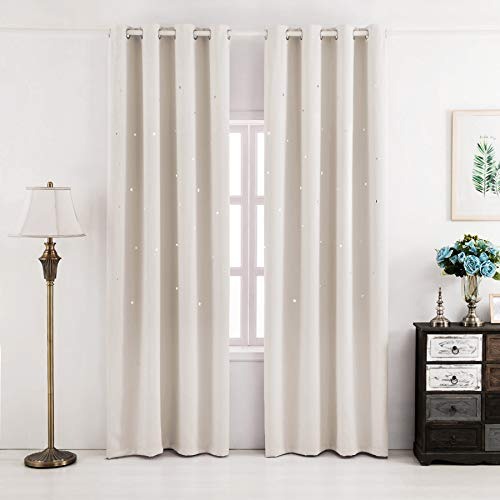 Fassbel Blackout Curtains Hollow Star 2 Panels Set Thermal Insulated Window Drapes for Children Bedroom Living Room (W52× L84, Beige)