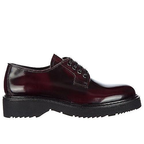 Prada chaussures à lacets classiques femme en cuir derby bordeaux low-cost c02d1efb7ecd