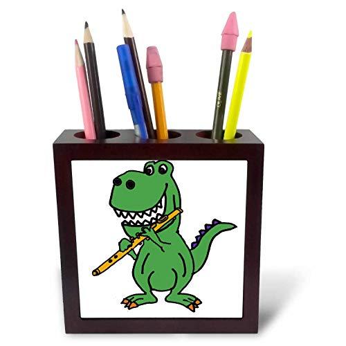 - 3dRose All Smiles Art Dinosaurs - Cute Funny Green T-rex Dinosaur Playing Flute Cartoon - 5 inch Tile Pen Holder (ph_288144_1)