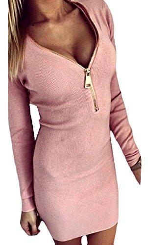 Coolred-femmes À Manches Longues Zip Moulante Casual Col V Mini Robe Élégante Plage Rose