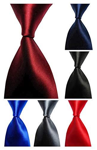 Wehug Lot 6 PCS Men's Ties 100% Silk Tie Woven Necktie Jacquard Neck Ties Solid Ties style013 ()