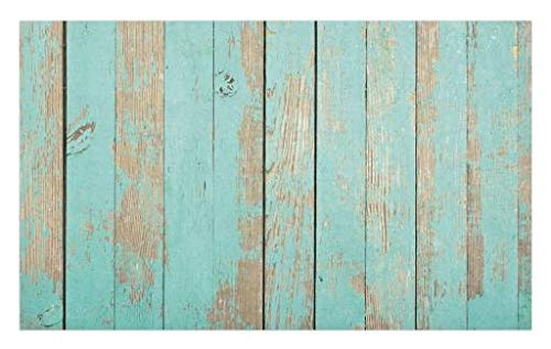 Lunarable Aqua Doormat, Worn Out Wooden Planks Faded Paint Marks Vintage Grunge Hardwood Image Rustic Design, Decorative Polyester Floor Mat with Non-Skid Backing, 30 W X 18 L Inches, Aqua Tan