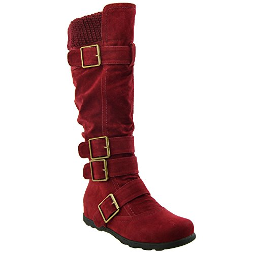 womens-knee-high-boots-ruched-suede-knitted-calf-burgundy-sz-9