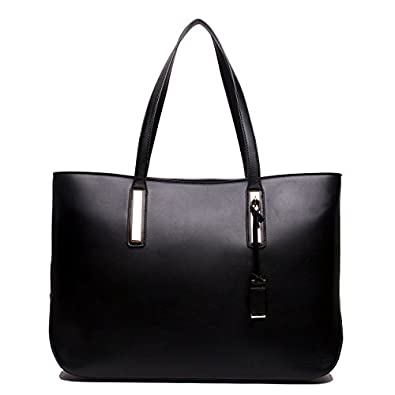 Miss Lulu Women's Faux Leather Handle Tote Bag, Black: Amazon.co ...