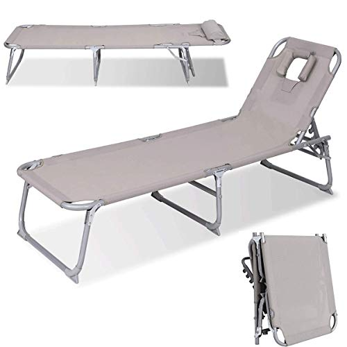 Goplus Adjustable Chaise Lounge Chair Recliner w/Pillow Sunbathing Tanning Face Down Hole for Beach Outdoor Pool Patio Deck (Gray) (Outdoor Most Is The Durable Furniture What)