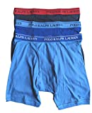 Polo Ralph Lauren Men's Classic Fit w/Wicking 3-Pack Long Leg Boxer Briefs Aerial Blue/Rugby Royal/Cruise Navy X-Large