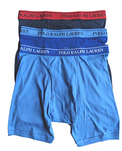 Polo Ralph Lauren Men's Classic Fit w/Wicking 3-Pack Long Leg Boxer Briefs Aerial Blue/Rugby Royal/Cruise Navy X-Large ()