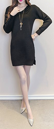 Soojun Pullover 2 Knitted Elasticity Black Sweaters Women's Style Stretchable 4xpIq4wr
