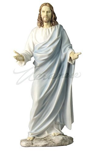 "JESUS CHRIST BLESSING STATUE Real Bronze Powder Cast Statue Sculpture 12"" (Color)"
