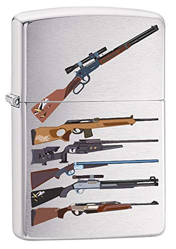 Zippo Lighter: Rifle Designs - Brushed Chrome 79725 (Chrome Brushed Design)