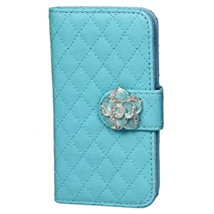 EOZY Faux PU Leather Rhinestone Camellia Buckle Flip Cover Folio Case Protector for Samsung S4 Mini (1Light Blue)