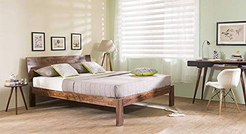 Urban Ladder Boston King Size Bed  Solid Wood   Finish : Teak
