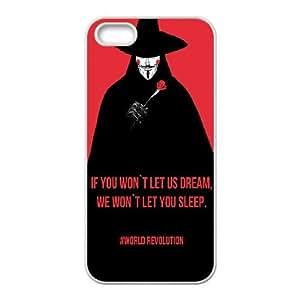 iPhone 5 5s Cell Phone Case White Vendetta World Revolution E4Q3QT