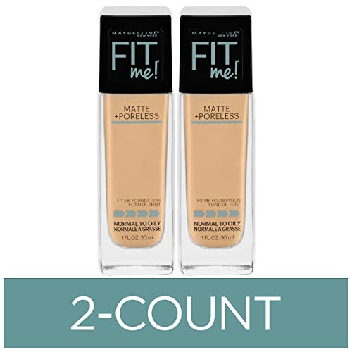 Maybelline New York Fit Me Matte + Poreless Liquid Foundation Makeup, Warm Nude, 2 COUNT Oil-Free Foundation
