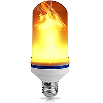 Premium Upgraded LED Flame Effect Fire Light Bulb – 4 Modes w/Gravity Sensor, Ambient Simulation, Gas Lamp, Flicker Up & Down, Solid, Breathing Glow, In & Outdoor, Gift, Party Holiday Décor