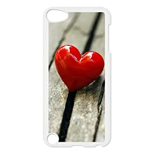 iPod Touch 5 Case White Heart on Wood 006 YE3447145