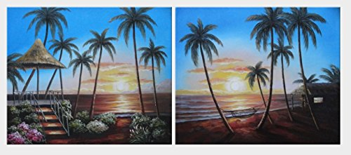 Oil Painting 20''x48'' Hawaii Beach with Palm Trees on Sunset - 2 Canvas Set Seascape America Naturalism, BeyondDream Art by BeyondDream