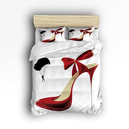 Luxury 4-Piece Bedding Set Sex Woman Red High Heels Duvet Covers Set Duvet Cover Bed Sheet Pillow Cases Queen Pattern by Cloud Dream