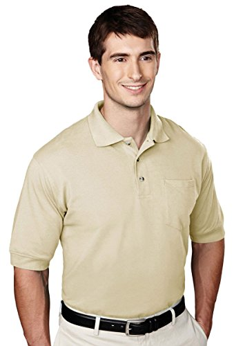 Tri-mountain Mens 60/40 pique pocketed golf shirt. - SAND - X-Large