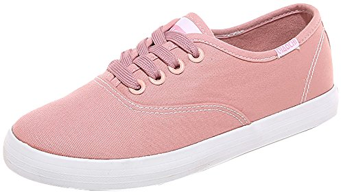 Odema Lady Lace Up Flat Simple Sneakers Casual Canvas Preppy Style Shoes