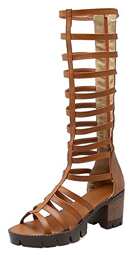 Mofri Women's Trendy Stacked Medium Block Heels Back Zipper Platform Under the Knee High Gladiator Sandals