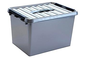 nouvelle arrivee db8e6 a9197 Boite plastique opaque gris avec couvercle et poignée  (H)260x(L)400x(l)300mm fermeture noir (SUNWARE Qline Box 22L)