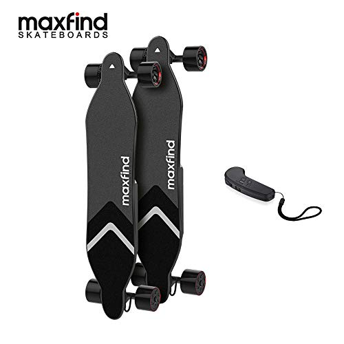Maxfind MAX 4 Electric Skateboard,MAX Range Up to 40km/26miles Extra Battery,1500W Dual Hub Motors, 38 Inches Longboard,New Upgrades (Standard Range)