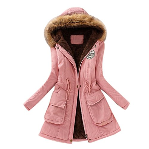 Manteau Femme Hiver,MEIbax Femme Hiver Chaud Long Manteau de Coton Faux Col de Fourrure Veste Capuche Slim Parka Manteaux S-XXXL Rose
