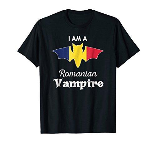 Vampire Romania Flag Halloween Casual T-Shirt]()