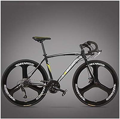 NENGGE Bicicleta de Carretera, Adulto Marco De Acero De Alto Carbono Freno Disco Bicicleta, Profesional Unisex Bicicleta de Carreras,3 Spoke Black,27 Speed: Amazon.es: Hogar