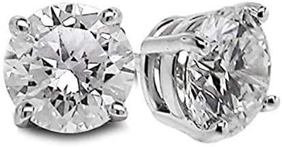 Diamond Studs Forever Solitaire Diamond Earrings (1/4 Ctw AGS Certified GH/SI1-SI2) 14K White Gold