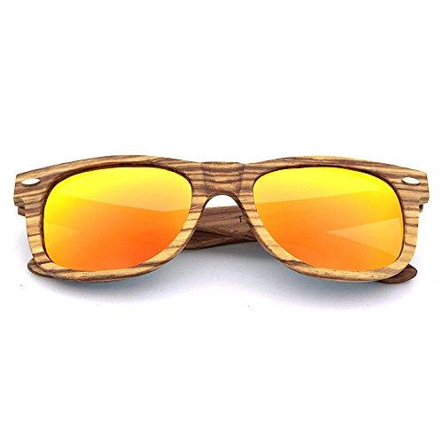 zèbre Violet UV de KOMEISHO Couleur soleil en Lunettes bois pour polarisé de Orange protection hommes femmes naturel qZxFqH